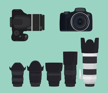 dslr camera: slr dslr camera collection with lens vector illustration Illustration