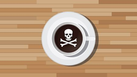 poison sign: poison poisonous coffee illustration with skull sign vector