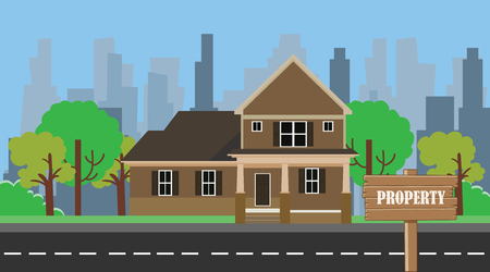 property building home with wood sign board vector illustration Illustration