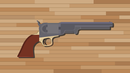 six shooter: civil war pistols gun with wood table background vector illustration