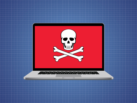 hacked: computer hacked with skull symbol and danger alert vector illustration