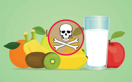 poison symbol: poison poisonous fruit with skull symbol vector illustration