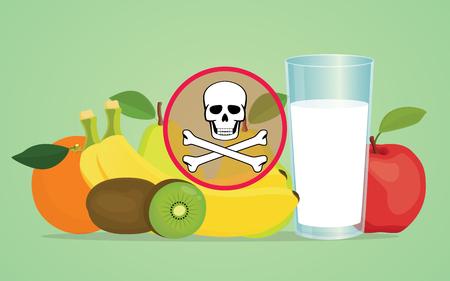 poison symbol: poison poisonous fruit with skull symbol vector illustration