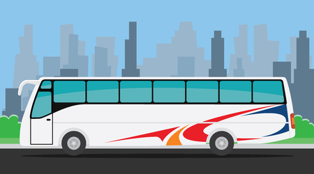 bus tour: bus on the road illustration with city background vector