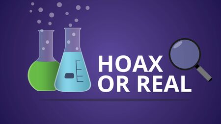 hoax: hoax or real illustration with laboratory glass vector Illustration