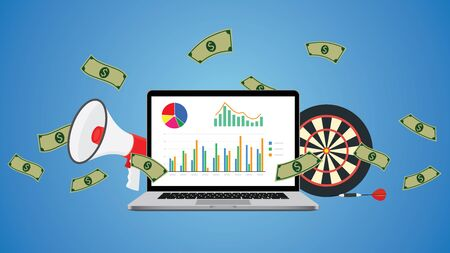online business illustration with graph money goals and marketing vector Vector Illustration