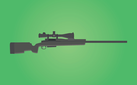 riffle: sniper rifle gun isolated with green background vector Illustration