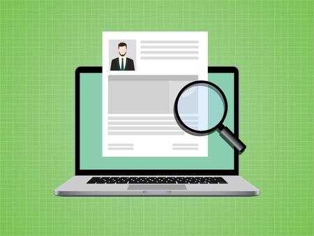 evaluacion: personas cv en el documento de papel con la foto y el vector portátil Vectores