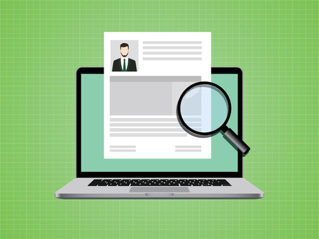 people cv on paper document with photo and notebook vector