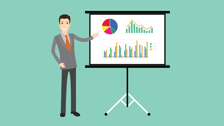 businessman presentation with board graph and chart vector