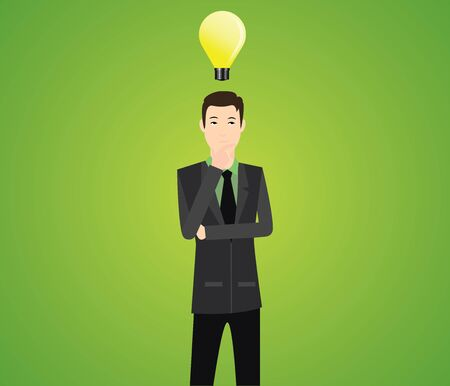 formalwear: businessman think illustration with light bulb vector Illustration