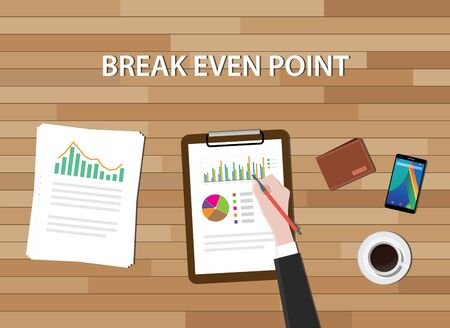 bep break even point illustration with graph chart and work table vector