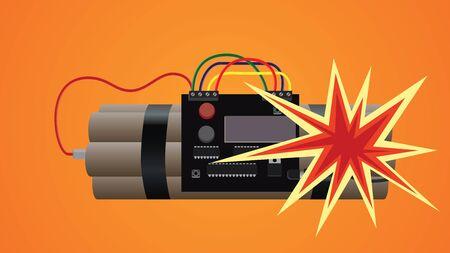 bomb dynamite explosion illustration vector illustration graphic Vetores