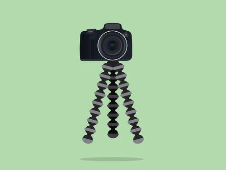 flexible business: camera slr dslr tripod with gorilla style vector
