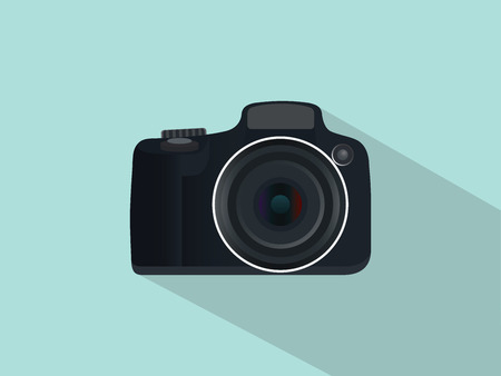slr: camera slr dslr isolated with flat style and long shadow vector Illustration