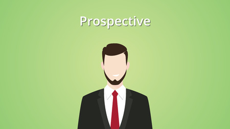 prospection: prospective client illustration businessman vector illustration green background Illustration