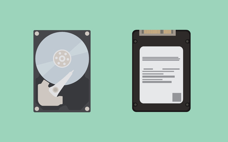 hdd vs ssd comparing between hardware vector illustration