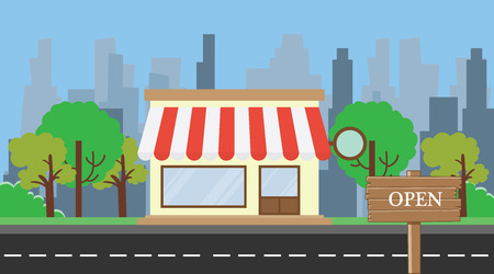 tree service business: open shop concept with board sign vector illustration