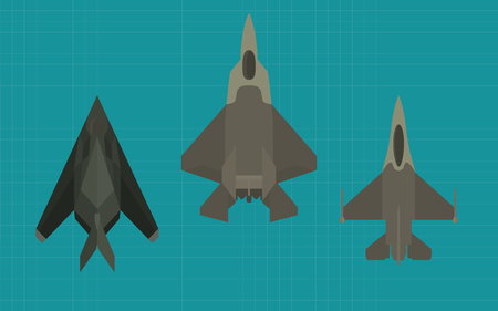 supersonic: jet fighter collection view from top vector illustration