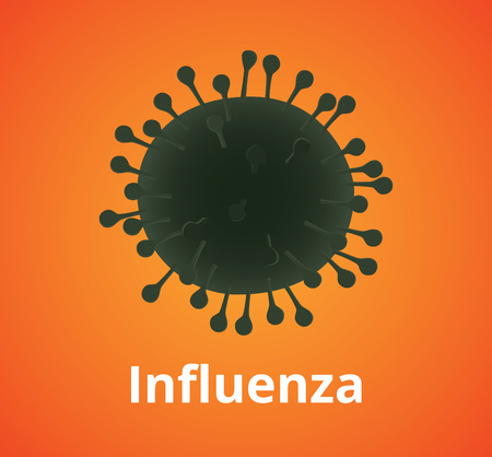 h1n1: influenza virus cell illustration isolated with orange background vector illustration