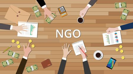 ngo: team working together to support ngo to help others vector illustration