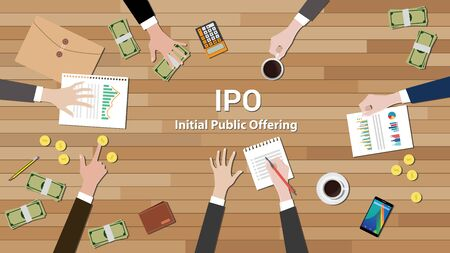 initial public offerings: ipo initial public offering negotiation team work vector illustration