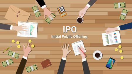ipo offre publique initiale équipe de négociation vecteur de travail illustration