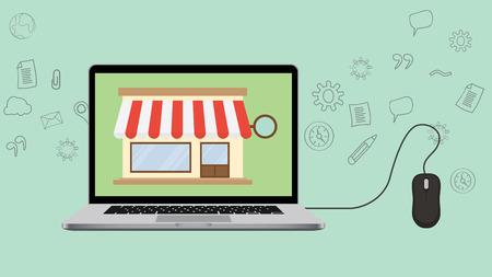 Open-Shop-Konzept mit Laptop und speichern Vektor-Illustration