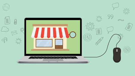 open shop concept with laptop and store vector illustration Stock Illustratie