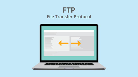 protocol: ftp file transfer protocol with data exchange on laptop vector illustration