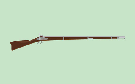 vintage riffle: flintlock rifle isolated with green background vector
