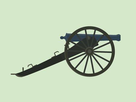 Artillerie burgeroorlog kanon geïsoleerd met groene achtergrond vector illustratie Stockfoto - 54209195