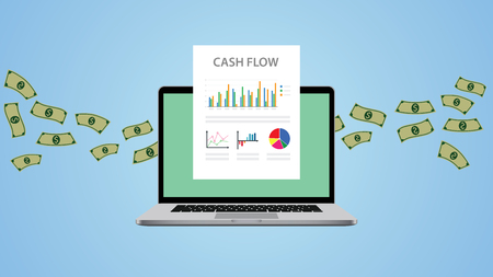 cashflow illustratie met laptop en geld grafiek chart vector illustratie Stock Illustratie