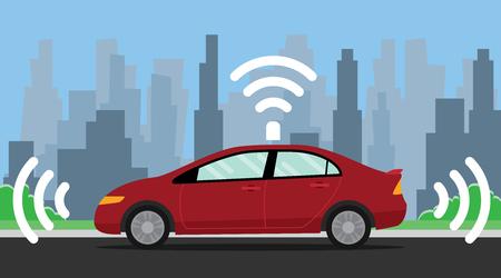 auto illustration voiture conduite par la couleur rouge sur le vecteur de route illustration