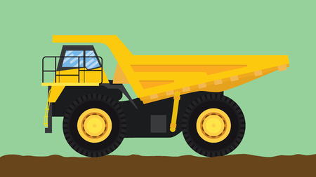 big wheel: dump truck yellow isolated with big wheel and dirt  vector illustration