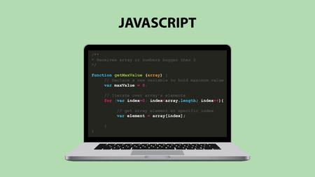 javascript programming language illustration with laptop and java script code vector illustration Vettoriali