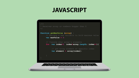 javascript programmeertaal illustratie met laptop en java script code vector illustration Stock Illustratie