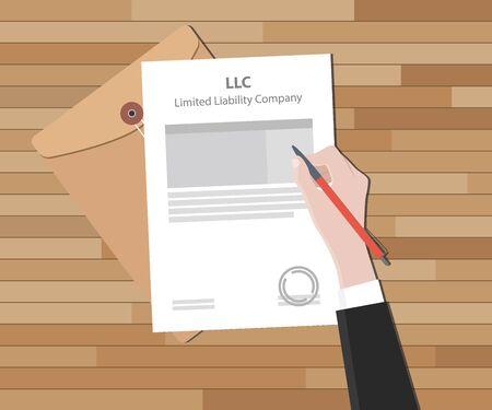 llc Gesellschaft mit beschränkter Haftung mit Dokument und Zeichen Papier Vektor-Illustration Vektorgrafik