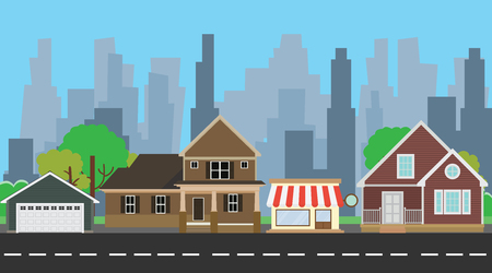 family outside house: urban house with some home beside road vector illustration Illustration
