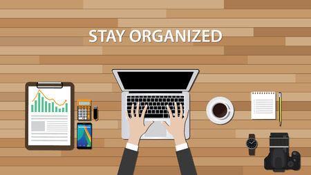 get organized workspace with people work on his desk vector illustration