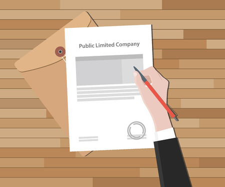 incorporate: public limited company with hand sign a legal paper stamp vector illustration