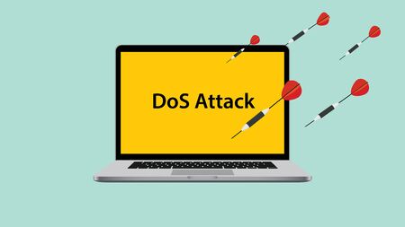 denial: ddos dos denial of service attack with laptop attacked vector illustration Illustration