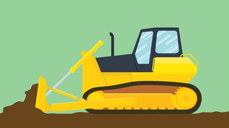 mine site: bulldozer illustration with green background vector illustration Illustration