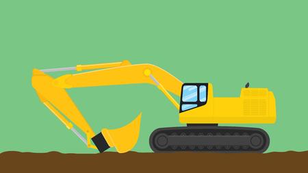 mine site: excavator illustration with green background vector illustration Illustration