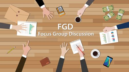 focus group: fgd focus group discussion team work together on wood table vector illustration Illustration