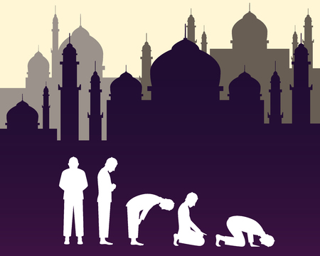 moslem: moslem muslim pray position with mosque background vector