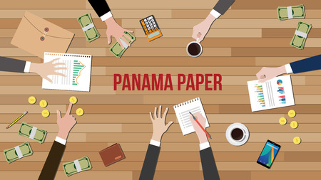 work together: panama papers fraud illustration with money and people work together on table vector Illustration