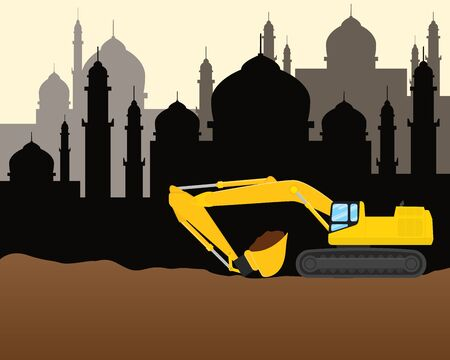 moslem: modern moslem muslim islam construction development illustration with heavy machine and mosque sillhouette