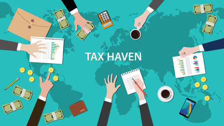 taxes: tax haven panama papers concept with money world map and document vector illustration Illustration