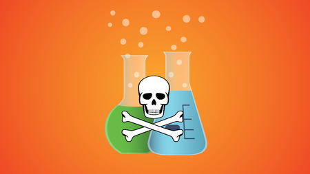 a substance vial: poisonous dangerous liquid in bottle with skull and bone symbol vector illustration